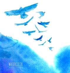 Watercolor sky background with birds vector