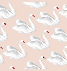 white birds seamless pattern wildlife background vector image vector image
