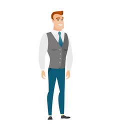 Young caucasian confident businessman vector