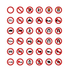 Set of forbidden road signs isolated on white vector