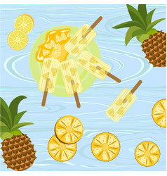 Popsicles with berries and fruits vector