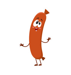 Funny sausage character with human face showing vector