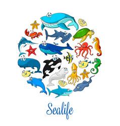 sea ocean cartoon animals fishes poster vector image