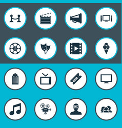 Set of simple cinema icons vector