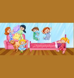 girls having slumber party in bedroom vector image