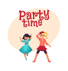 two girls dancing at party blue dress skirt and vector image