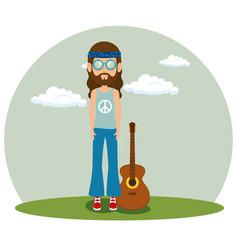 hippie man with a guitar cartoon vector image