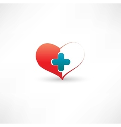 Heart and medical cross vector