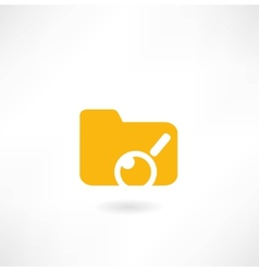 folder with papers under magnifier icon vector image