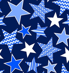 Blue stars and stripes seamless pattern vector