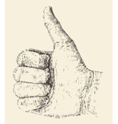 Like thumb up  hand drawn sketch vector