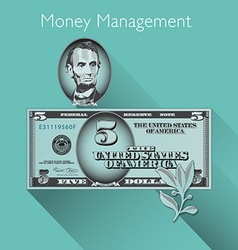 5 Dollar with Shadow vector image vector image