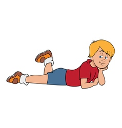 boy blond laying vector image