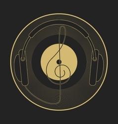 Headphones vintage vinyl clef mono line logo vector