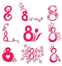 8 decorative magenta vector image vector image