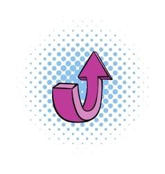Purple up arrow icon comics style vector