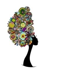 Female floral portrait for your design vector