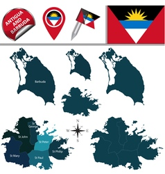 Antigua and Barbuda map with named divisions vector image vector image