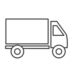 Cargo truck line icon black and white colors vector