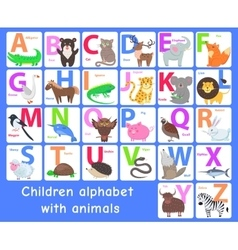 Children alphabet with animals letters set vector
