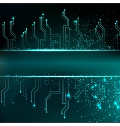 Circuit board background with blue electronics vector
