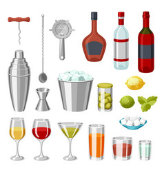 Cocktail bar set essential tools glassware vector