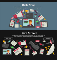 Daily news and live stream promotional internet vector