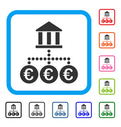 euro bank transactions framed icon vector image vector image