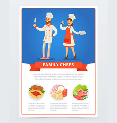 Family chefs in kitchen uniform and menu with vector