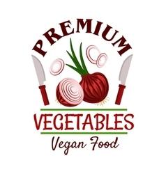 Fresh healthy onion vegetable badge vector image vector image