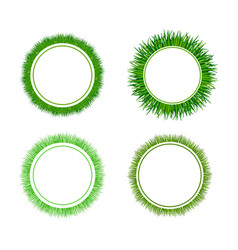 Green grass circular frames set vector