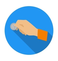 Hand holding coin for parking meter icon in flat vector