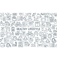 healthy lifestyle thin line banner vector image vector image