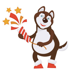 husky dog in red boots blows big slapstick vector image