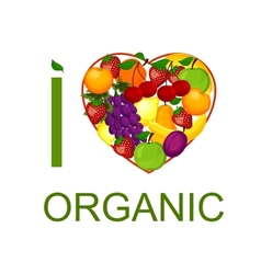 I love organic food an vector
