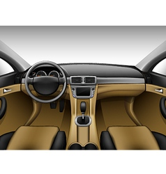 Light beige leather car interior vector image