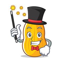 Magician butternut squash mascot cartoon vector