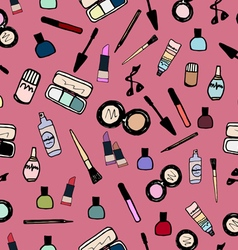Make-up Cosmetics Seamless Pattern Color vector image