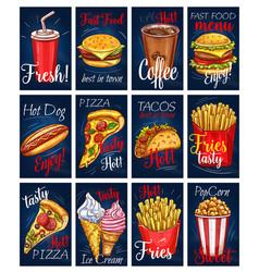 menu cards templates set for fastfood meals vector image vector image