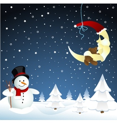 moon and snowman winter vector image vector image