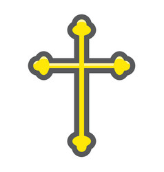 Religion cross filled outline icon easter vector