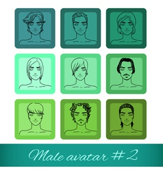 Set of nine male avatar vector image vector image