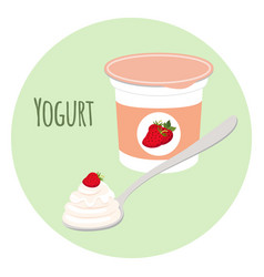 strawberry yogurt plastic cup milk cream product vector image vector image