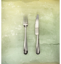 Table knife and fork old-style vector image
