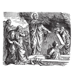 The resurrection of lazarus of bethany vintage vector