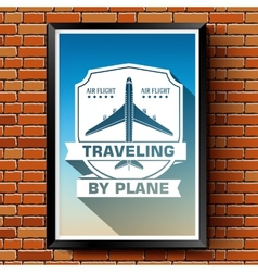 Travel by plane logo or label template with vector