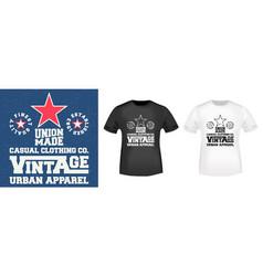 Vintage denim stamp and mockup t shirt vector