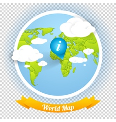 World Map with Marks and Web Elements Templ vector image