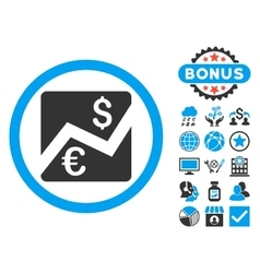 Euro dollar chart flat icon with bonus vector