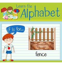 Flashcard alphabet f is for fence vector